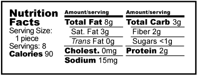 Nutrition facts label for Stevia Sweetened Almond Butter Cups