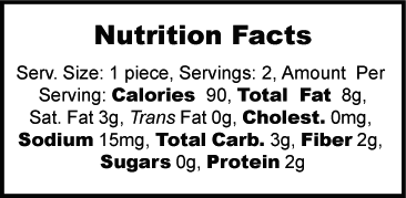 Nutrition label for Stevia Sweetened Almond Butter Cups
