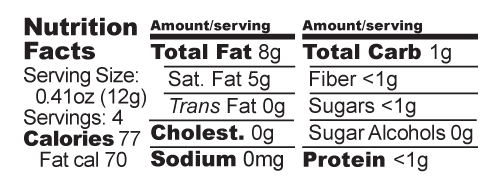 Dark Milk nutrition facts label
