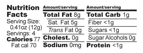 Dark Milk nutrition facts label