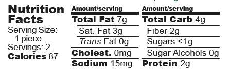 Nutrition Facts for Hazelnut Butter Crispy Cups