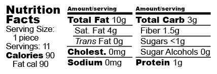 Nutrition facts label for Hazelnut Melts