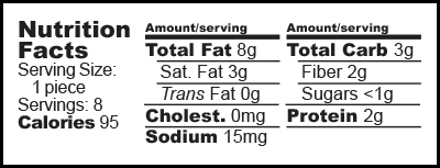 Nutrition facts label for Stevia Sweetened Peanut Butter Cups