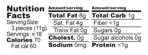 Sweetheart Meltaways Nutrition Facts Label